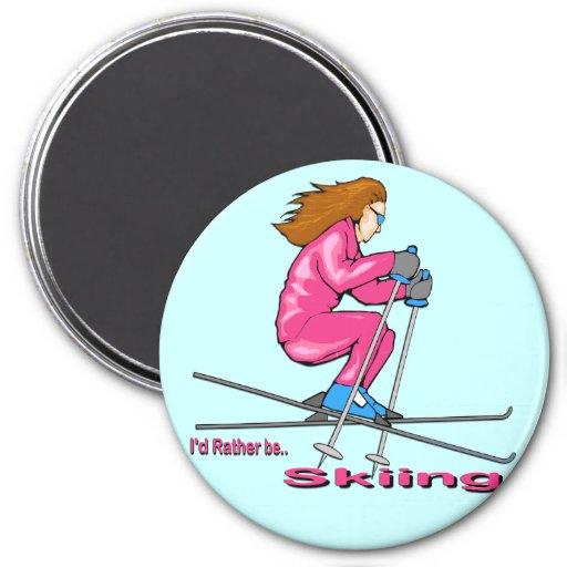 Mujer del esquí imán redondo 7 cm