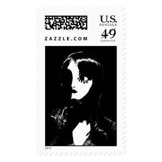 Mujer del estilo de Sin City - en fondo negro Franqueo