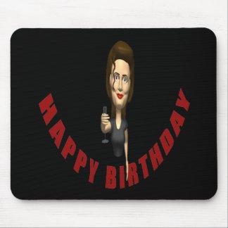 Mujer del feliz cumpleaños alfombrilla de ratones