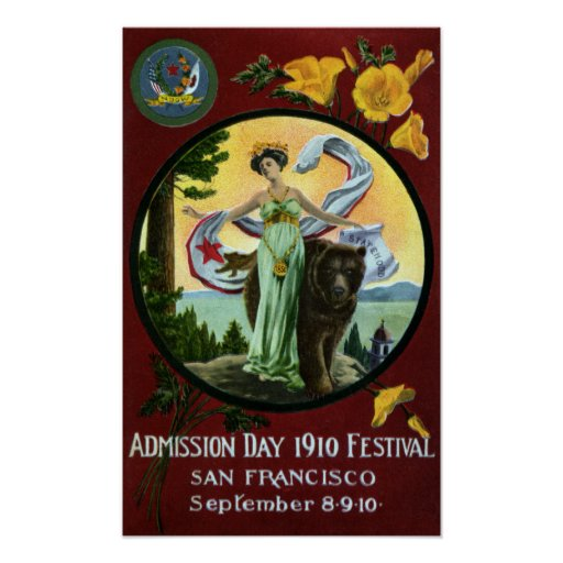 Mujer del festival del día de admisión de Californ Posters