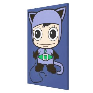 Mujer del gato de Chibi Lona Envuelta Para Galerias