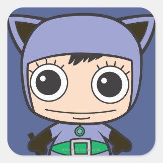 Mujer del gato de Chibi Calcomania Cuadradas Personalizada