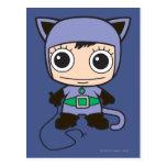 Mujer del gato de Chibi Tarjetas Postales