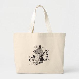 Mujer del geisha y letras japonesas bolsa tela grande