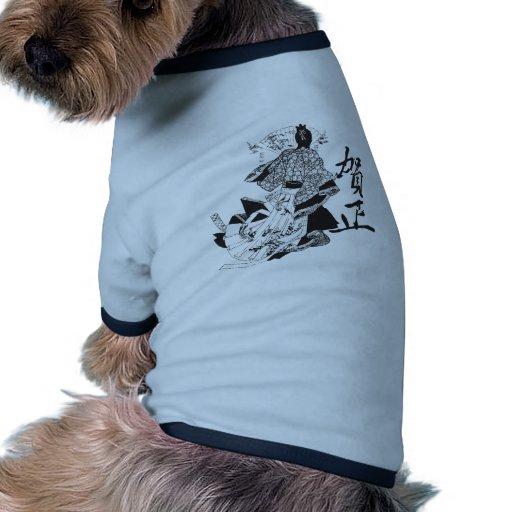 Mujer del geisha y letras japonesas camiseta con mangas para perro