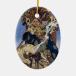Mujer del guerrero de la reina del vintage adorno navideño ovalado de cerámica