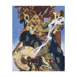 Mujer del guerrero de la reina del vintage impresiones en lona estiradas