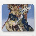 Mujer del guerrero de la reina del vintage tapete de raton