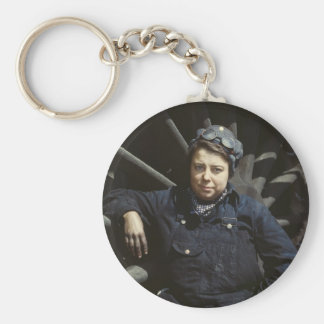 Mujer del limpiador del ferrocarril, los años 40 llavero redondo tipo pin