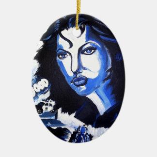 Mujer del mundo adorno ovalado de cerámica