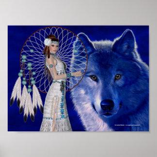 Mujer del nativo americano y impresión azul del po