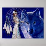Mujer del nativo americano y impresión azul del po poster