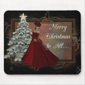 Mujer del navidad (diseño rojo) del vestido Mousep Alfombrillas De Raton