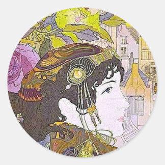 Mujer del nouveau del arte pegatina redonda