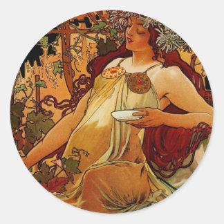 Mujer del otoño pegatina redonda