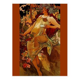 Mujer del otoño postal