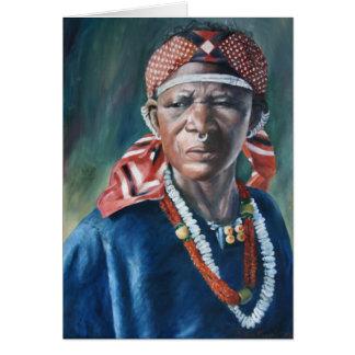 Mujer del pañuelo de Dogon Tarjeta De Felicitación