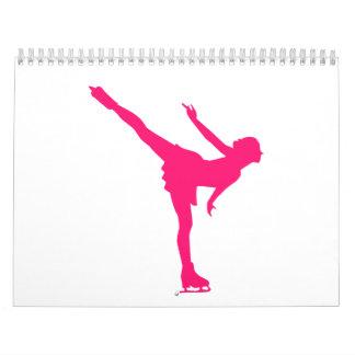 Mujer del patinaje artístico calendario de pared