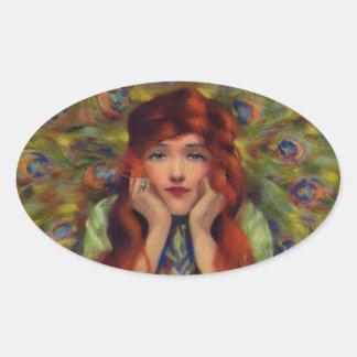 Mujer del pavo real del vintage colcomanias óval personalizadas