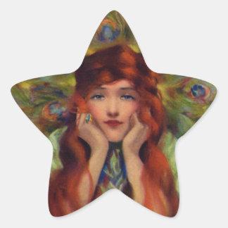 Mujer del pavo real del vintage calcomanias forma de estrella