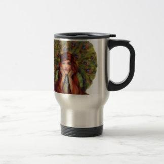 Mujer del pavo real del vintage tazas