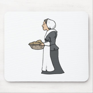 Mujer del peregrino con la comida alfombrilla de ratones