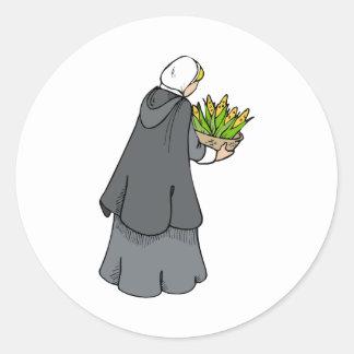 Mujer del peregrino con maíz etiqueta redonda