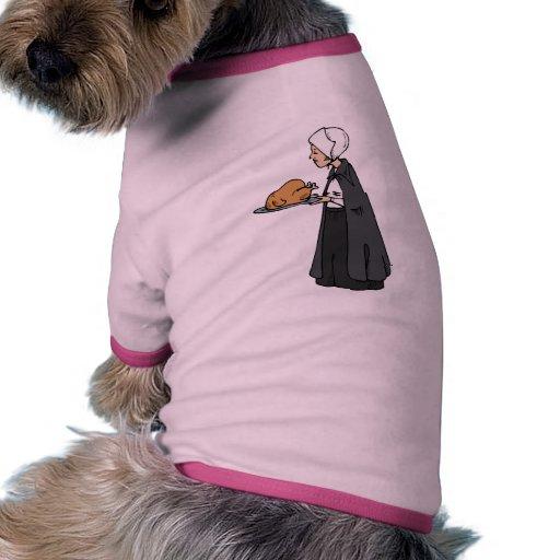 Mujer del peregrino con Turquía Camisas De Mascota