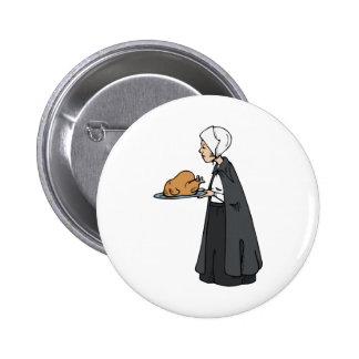 Mujer del peregrino con Turquía Pins