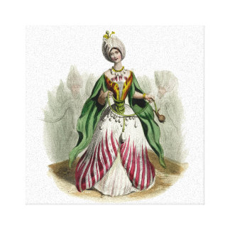 Mujer del pétalo de la flor lienzo envuelto para galerías