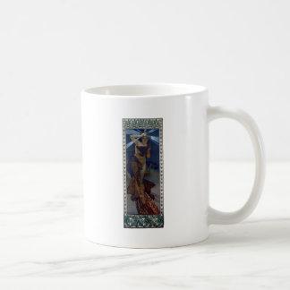 mujer del poster del nouveau del arte del lucero d tazas de café
