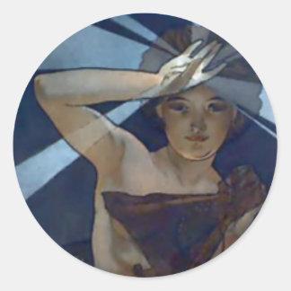 mujer del poster del nouveau del arte del lucero pegatina redonda