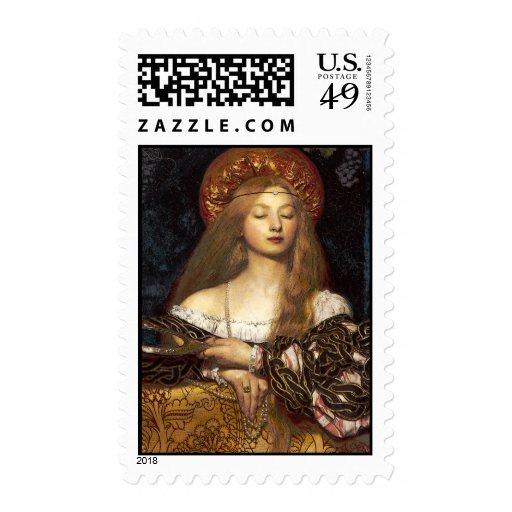 Mujer del Pre-Raphaelite de la vanidad Franqueo