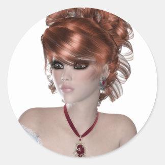 Mujer del Redhead Pegatinas Redondas