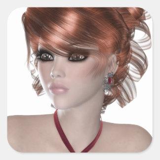 Mujer del Redhead Calcomanía Cuadrada