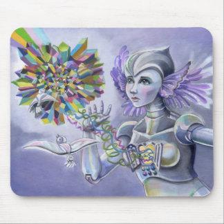 Mujer del robot con un corazón estrellado del cris alfombrilla de ratones