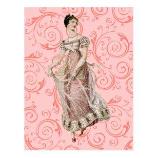 Mujer del siglo XIX del vintage Postal