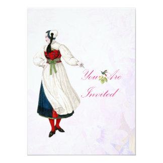 """Mujer del suizo del Victorian Invitación 5.5"""" X 7.5"""""""