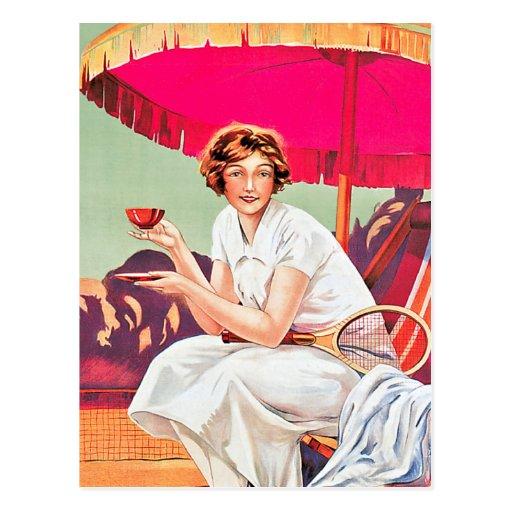 Mujer del tenis del anuncio de Phoscao Postal