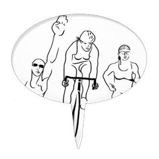 Mujer del Triathlon del funcionamiento de la bici  Palillos De Tarta