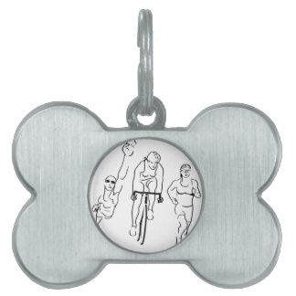 Mujer del Triathlon del funcionamiento de la bici Placas De Mascota