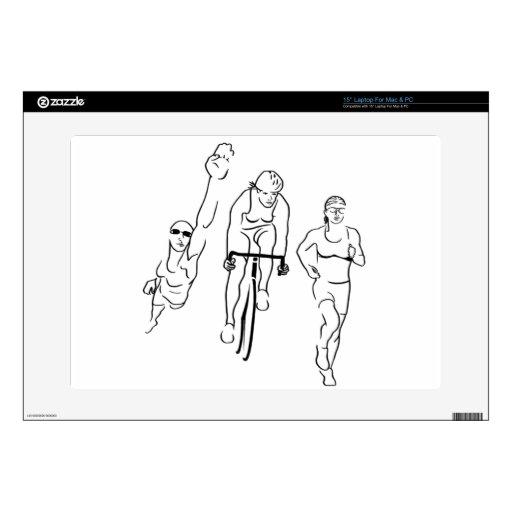 Mujer del Triathlon del funcionamiento de la bici  Portátil Skins