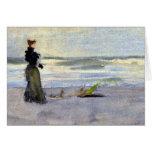 Mujer del Victorian al lado del agua Felicitación