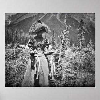 Mujer del Victorian con la diapositiva de cristal  Póster