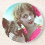Mujer del Victorian con los prácticos de costa del Posavasos Personalizados
