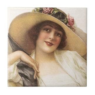 mujer del Victorian del vintage 1900's Azulejo Cuadrado Pequeño