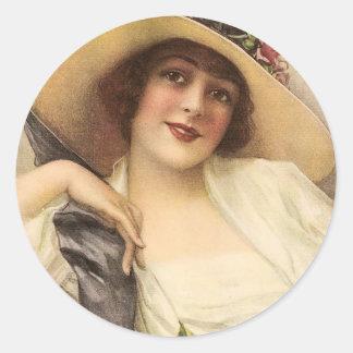 mujer del Victorian del vintage 1900's Etiqueta Redonda