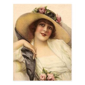 mujer del Victorian del vintage 1900's Postal