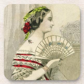 Mujer del Victorian del vintage con el sistema del Posavasos De Bebidas