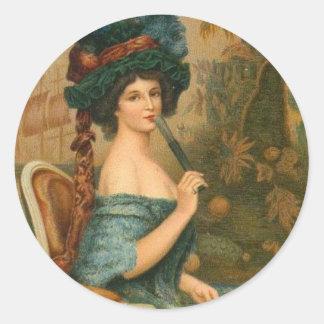 Mujer del Victorian Etiqueta Redonda